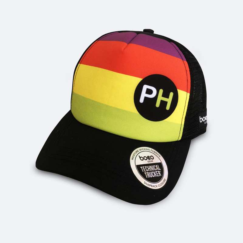 Technical trucker hat with built-in sweatband and breathable mesh side and back panels